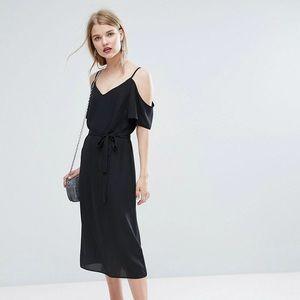 ASOS New Look Tie Waist Cold Shoulder Midi Dress